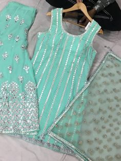 Excited to share this item from my shop: Sharara gottapatti suit, Salwarsuit, Punjabisuit Simple Kurta Designs, Stylish Dress Designs, Stylish Dresses For Girls, Kurta Designs Women, Designs For Dresses, Hand Embroidery Dress, Embroidery Suits Design, Embroidery Fashion, Embroidery On Kurtis