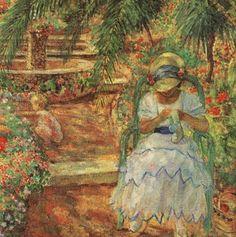 Under Palm Trees - Henri Lebasque (French, 1865-1937) Post-Impressionism