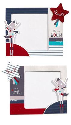 227ec3d98e6cc Set de 2 cadres photos colorés Mister Bouh (17x14