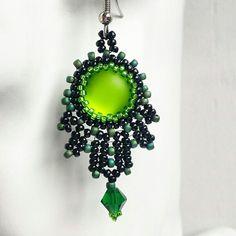 Sale! Apple green earrings, statement beaded earrings, bead embroidery, handmade jewelry, Chrismas jewellery, silver plated earring hooks.