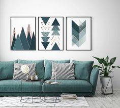 Set of 3 Prints Gallery Wall Art Dark Teal Green Art Prints Geometric Poster, Geometric Wall Art, Green Art, Teal Green, Teal Home Decor, Teal Walls, Dark Teal, Modern Wall Art, Wall Art Prints