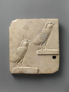 Relief plaque with two swallows, opposite side two quail chicks | Late Period–Ptolemaic Period | The Met