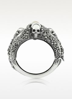 UGO CACCIATORI  Light Pearl Foliage & Skulls Sterling Silver Bracelet @Amanda Snelson Snelson Cashman while I love this ring... i think it suits you even better!