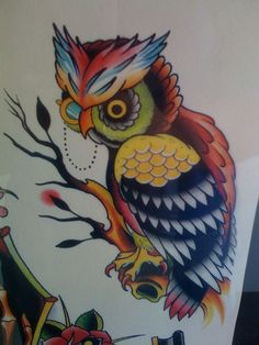 owl tattoo flash... Might paint this