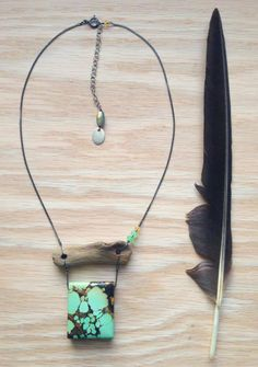 ∆∆∇∇ elementality | royston turquoise, driftwood, chrysoprase, citrine •TOTEM• necklace by -hush-