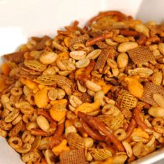 Just like Gean and Nanny used to make, except substitute rendered bacon fat for butter. Classic Nuts and Bolts, a recipe from ATCO Blue Flame Kitchen. Snack Mix Recipes, Appetizer Recipes, Cooking Recipes, Snack Mixes, Appetizers, Chex Recipes, Recipies, Christmas Snacks, Christmas Baking