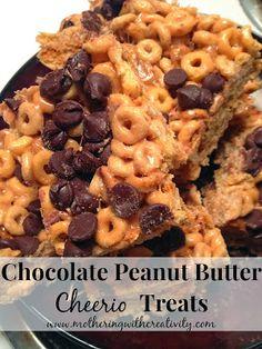 Mothering with Creativity: Chocolate Peanut Butter Cheerio Treats