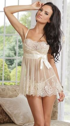 a43d16229b Ivory elegance babydoll and G-string. The ivory elegance babydoll set  includes an ivory lace babydoll with satin underwire