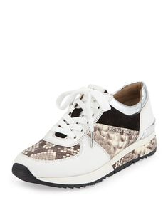 Allie Wrap Leather Sneaker, Natural by MICHAEL Michael Kors at Neiman Marcus.