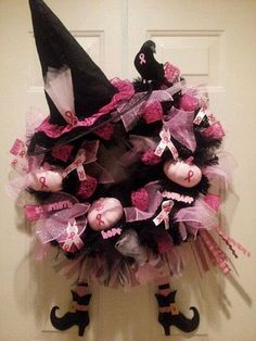 Pinkog 20 Rather Pink Halloween Decoration Suggestions Breast Cancer Wreath, Breast Cancer Crafts, Breast Cancer Survivor, Breast Cancer Awareness, Breast Cancer Fundraiser, Pink Halloween, Halloween Crafts, Halloween Decorations, Halloween Wreaths