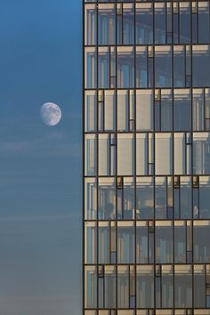 Moon And Glass Building, Reykjavik by Panoramic Images Office Building Architecture, Building Facade, Facade Architecture, Building Design, Building Windows, Facade Pattern, Green Facade, Glass Building, Building Renovation