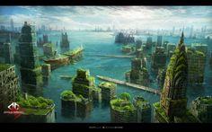 water city, Byung-ju Bong on ArtStation at https://www.artstation.com/artwork/2k1dK