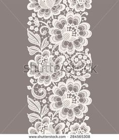 White Lace. Vertical Seamless Pattern. Beige Background.