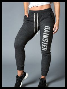 Women's GAINSTER Fleece Jogger - Ash Black with Gray GAINSTER Print. 25% OFF!