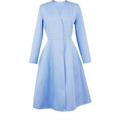 Esme Vie Sky Blue Princess Midi Coat ($1,735) ❤ liked on Polyvore featuring outerwear, coats, dresses, coats & jackets, jackets, sky blue, calf length coat, knee length coat, a line coat and blue coat