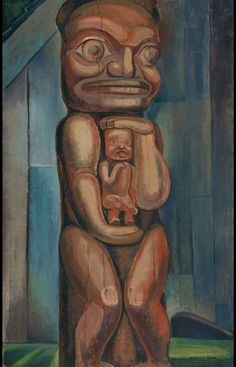 Emily Carr Totem Mother Kitwancool 1928 oil on canvas Collection of the Vancouver Art Gallery . Tom Thomson, Canadian Painters, Canadian Artists, Totems, Emily Carr Paintings, Vancouver Art Gallery, Portraits, Oil Painting Reproductions, Illustrations