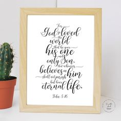 For God so loved the world, that he gave his only begotten Son. John KJV, Bible Verse, Wall Art Decor, Digital Print by FaithArtShoppe Bible Verse Memorization, Bible Verses, Niv Bible, Wall Art Decor, Wall Art Prints, John 3 16 Kjv, Begotten Son, Mug Printing, Printed Materials