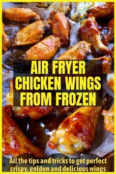 Here's how to make perfectly crispy air fryer chicken wings from frozen. All the tips and tricks to get perfect crispy, golden and delicious wings each and every time. #airfryerchickenwingsfrozen #airfryerchickenwings #airfryerchickenwingseasy #airfryerchickenwingscrispy #airfryerchicken