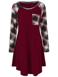 $10.31 Plaid Trim Single Pocket Dress in Burgundy | Sammydress.com