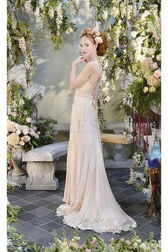 Modern Champagne Chiffon Lace-up Natural A-line Wedding Dresses - by OKDress UK