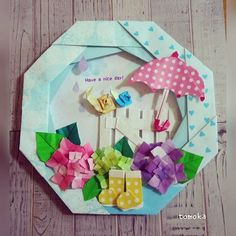 Origami Wreath, Origami Flowers, Origami Paper, Paper Flowers, Japanese Origami, Japanese Art, Paper Crafts, Gift Wrapping, Wreaths
