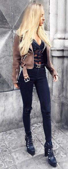 fall fashionable outfit : brown biker jacket + lacer top + rips + boots