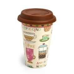 """Dinnerware, Coffee by the Cup,Double Wall Travel Mug with Silicone Lid 10oz,Ceramic,3.5x5.5x2.25 Inches by Cypress Home. $8.88. Dishwasher Saft (Top Rack) and microwave safe. Cold or hot liquid.. Eco-Friendly alternative to paper or styrofoam.. Ceramic;Holds 19 oz.. The size is: 3.5""""HX5.5""""WX2.25""""D. Holds 10 oz. Silicone Lid. Don't worry about spilling your drink with this travel mug. Have your coffee on the go and minimize your impact on the environment with t..."""