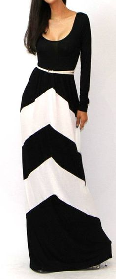 Chevron long sleeve maxi