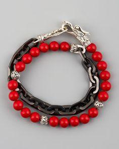 N1P11 John Hardy Naga Coral & Chain Wrap Bracelet