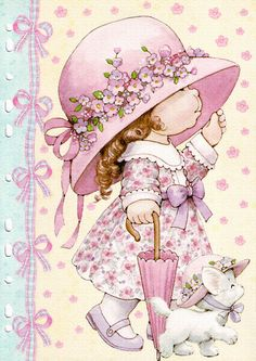 Ruth Morehead - Holly Hobbie ish Pink Girl with White Kitty Vintage Cards, Vintage Postcards, Sarah Key, Holly Hobbie, Decoupage Paper, Illustrations, Cute Illustration, Cute Drawings, Paper Dolls