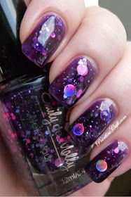 Pointless Cafe: Emily de Molly Cosmic Forces - Swatches and Review purple lots of glitter nail polish