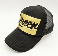 f4833dfee65b38 Queen trucker hat printed in gold and embroidered in 3D. New hot design!