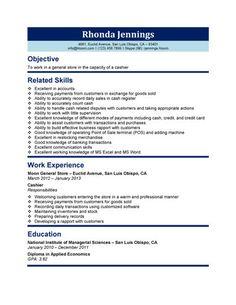 Cashier Job Description Resume Job☆ Pinterest Editor