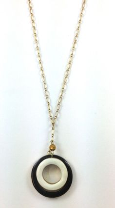 "New Gold Black White Circle Long Necklace Pendant 30""L Czech Glass Bead."