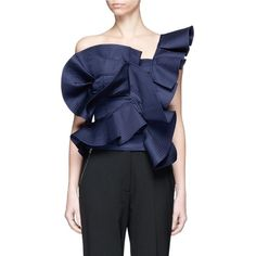Johanna Ortiz 'Dama Danzante' ruffle one-shoulder top ($850) ❤ liked on Polyvore featuring tops, blouses, blue, one shoulder blouse, frilly blouse, flounce blouse, ruffle top and flutter-sleeve top