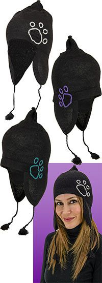 Handknit Paw Print Hat - On Sale! Each hat purchased funds 14 bowls of food for shelter animals.