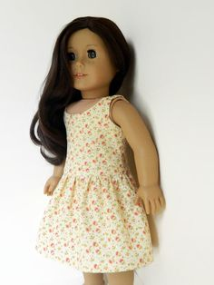 American Girl Doll Clothes - Yellow Floral Cotton Print Rosalie Dress with Low Back