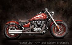 Kawasaki Vulcan 900 Bobber Motorcycle In Red