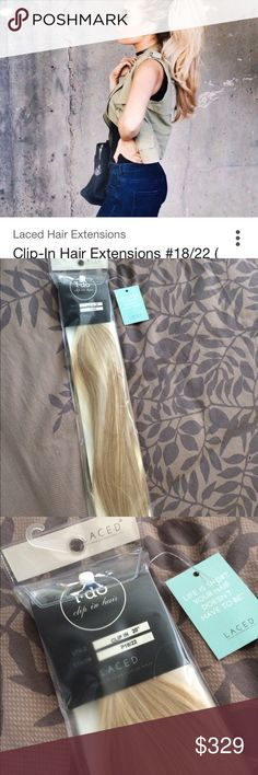 """Laced Hair Clip-in 100% remy human hair extensions Laced Hair Clip-in 100% remy human hair extensions color: #18/22 mixed bright tonal blonde. 21"""" long BEST quality extensions-- My other ones are lasting so much longer than expected I don't even need these. Bought extra pair as back-up thinking I would need before a year was up like all other brands. They are gorgeous. New in bag. All bachelorette stars wear them-- Michelle money This listing and price Includes Hot Tools extension styling…"""
