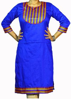 ABHISAR Kurti 007.Main: This Blue Butter Silk Long Kurta is a perfect blend of fashion with elegance. The multi-colour vibrant yoke adds aura to the dress. It's light weight and its silk texture makes it suitable as both regular wear and party wear. When paired with minimum jewelries, it's perfect for office or a day out. Wear it with heavy jhumkas and bangles for a desi diva look in any celebration. Match the kurta with any cotton or silk bottom for the perfect look.