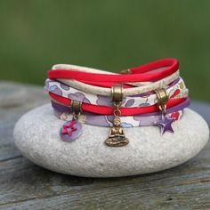 Bracelet liberty betsy et soie _ indien _  framboise, bronze, violet, parme _ breloque bouddha et etoile _ coloré