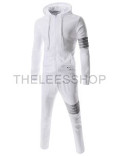 (MZS102-WHITE) Mens Slim Fit Sporty Stripe Patch Casual Training Jacket Pants Set