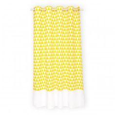 Gardinen gelbe Dreiecke und weiß