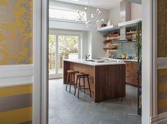 Herringbone tile floor kitchen contemporary with floating shelves white trim door casing