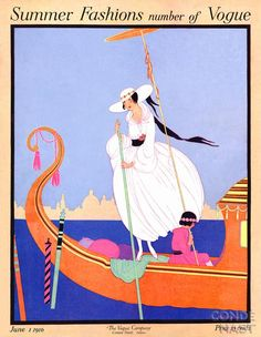 VOGUE Magazine Cover Poster Print Illustrated by Helen Dryden June 1, 1916 Summer Fashions Number of Vogue Poster Book.