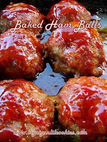 Big Rigs 'n Lil' Cookies: Baked Ham Balls Oxtail Recipes, Pork Recipes, New Recipes, Holiday Recipes, Baking Recipes, Best Ham Ball Recipe, Balls Recipe, Ham Balls, Baked Ham