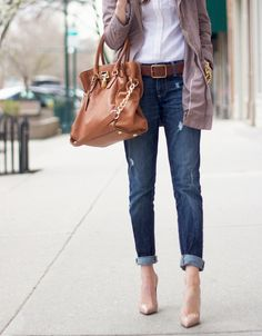 White top with nude pumps and casual jacket...