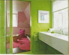 lime green wallls/tile kids bath, sink detail