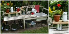 how to make a mud kitchen--even older kids would really love a play area like this