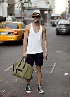 Alexander Wang shirt, Topman shorts, bag and glasses are Céline, and his shoes are Comme des Garçons / Rugged Style, Modern Tattoo Designs, Topman Shorts, Style Brut, Men's Style, Style Men, Look Street Style, Look Man, Mens Fashion Blog